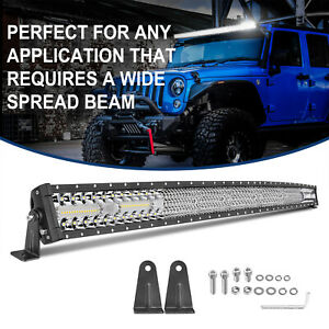 54 Curved Led Work Light Bar Quad Row Spot Flood Combo Driving Fog Off Road 4wd