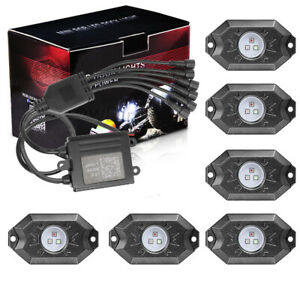 Cree Rgb Led Rock Lights Wireless Bluetooth Music Chasing Offroad Atv 12v 6 Pods