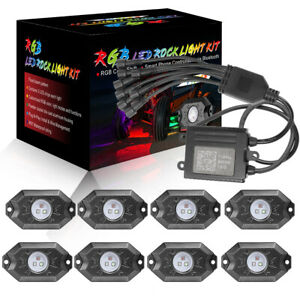 8 Pods Cree Rgb Led Rock Lights Wireless Bluetooth Music Chasing Off Road Atv