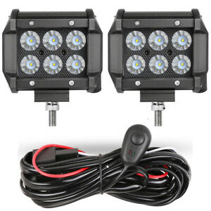 2x 4 Led Work Light Bar Flood Driving Fog Off Road Atv Wiring Harness Kit 12v