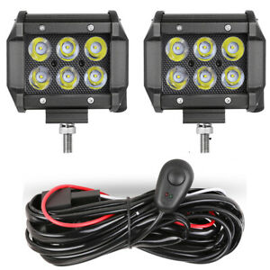 2x 4 Led Work Light Bar Spot Driving Fog Off Road Atv Wiring Harness Kit 12v