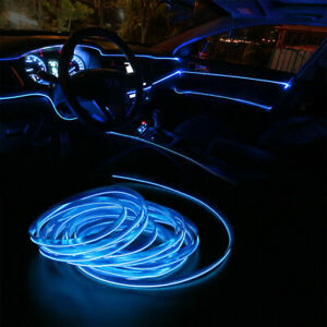 6 5ft Led Car Interior Decor Atmosphere Wire Strip Blue Light Lamp Accessories