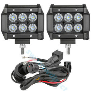 Wiring Harness Kit 4 Cree Led Work Light Bar Spot Pods Driving Fog Offroad 4wd