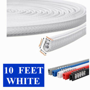 10 Feet White Car Door Trim Strip Edge Lock Guard Moulding Rubber Seal Protector