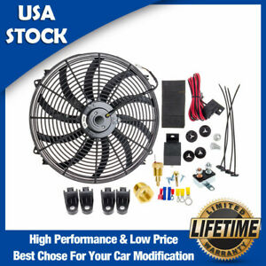 16 Inch 120w 3000cfm Electric Radiator Cooling Fan Relay Switch Thermostat Kit