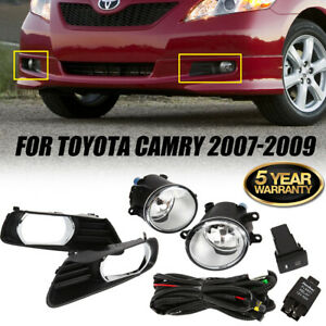 Fit 07 09 Toyota Camry Clear Bumper Fog Lights Driving Lamps With Harness Switch