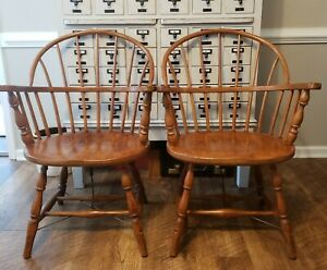 Antique S Bent Bros Gardner Ma Solid Wood Windsor Armchair Chair Free Shipping
