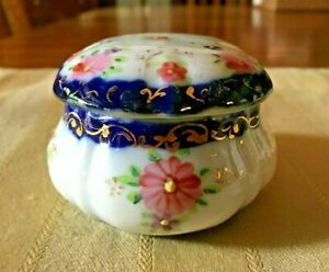 Small Porcelain Jar Or Powder Box For Dresser Or Vanity Blue White With Gold