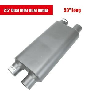 2 5 Dual Inlet Dual Outlet Offset Performance Race Muffler 23 Long