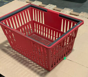 Red Large Mini Shopping Basket With Plastic Handles