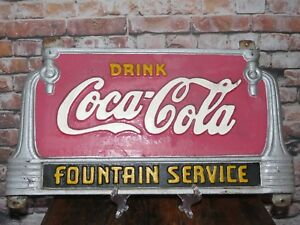 VINTAGE DRINK COCA COLA FOUNTAIN SERVICE CAST IRON BENCH SIGN ORIGINAL PAINT
