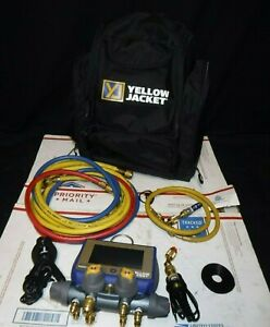 Yellow Jacket P51 870 Titan Digital Manifold Kit With Sensors And Hose For Parts