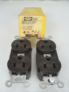 lot Of 2 Hubbell Cr5252 Dual Faced Brown Receptacle 15a 125v
