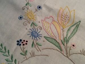 Vintage Floral Color Embroider Eyelet Madeira Irish Linen Tablecloth Top 34 Sq