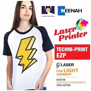 Laser Heat Transfer Paper Light Techni Print Ezp 100 Sheets 8 5 x11 Made In Usa