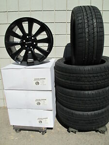 22 New Ram 1500 6 Lug Gloss Black Set Of 4 Wheels Bridgestone Tires 5922