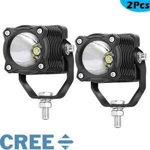 2x 20w Cree Round Led Driving Lights Off Road Spot Work Light Pod Bar Bumper Atv
