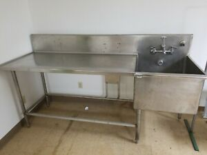 Stainless Steel Work Table With Right Sink 85 L X 30 D X 46 T