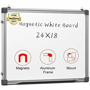Magnetic White Board 24 X 18 Dry Erase Wall Hanging Whiteboard With 3 Pens