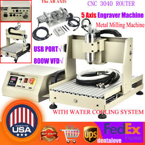 5 Axis 800w Cnc 3040t Usb Router Engraving Machine Milling Drilling Steel Metal