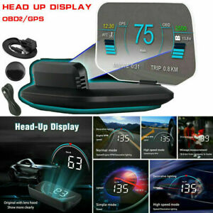Universal Obd2 Car Gps Hud Head Up Display Overspeed Warning Projector Scan Us