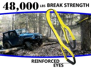 3 X 20 Ft Tree Saver Tow Strap 48 000 Lbs Break Stump Removal Jeep Winch