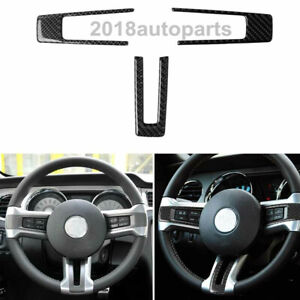 Carbon Fiber Steering Wheel Panel Trim Sticker Cover For Ford Mustang 2009 2013