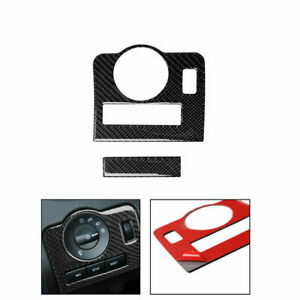 Carbon Fiber Interior Headlight Switch Decor Trim Cover For Ford Mustang 2009 13