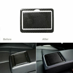 Carbon Fiber Rear Seat Water Cup Holder Panel Cover For Infiniti Q50 2014 2019