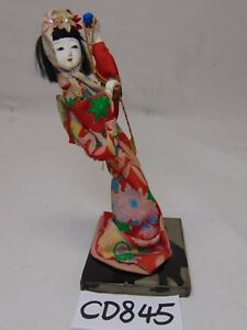 Vintage Asian Japan Made Doll On Wood Stand Geisha 7 Tall Traditional Rare
