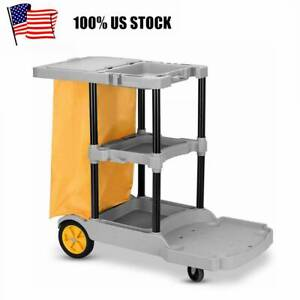 Commercial Janitorial Cleaning Cart 3 Shelf Ultility Cart Vinyl Bag