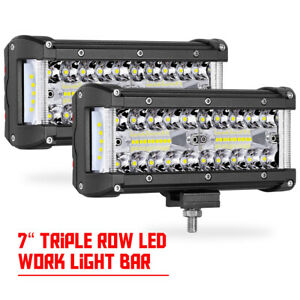 2x 7 Led Work Light Bar 3 row Side Shooter Spot Flood Reverse Driving Off Road