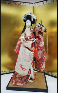 Vintage Japanese Geisha Doll Holding Samurai Helmet In Kimono 18 On Wooden Base