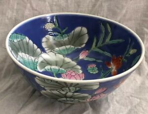 Vintage Chinese Bowl Blue Lily Pad Mandarin Ducks Floral Pattern Porcelain