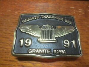 Oliver Hart Parr Farm Tractor 1991 Granite IA Threshing Bee Brass Belt Buckle