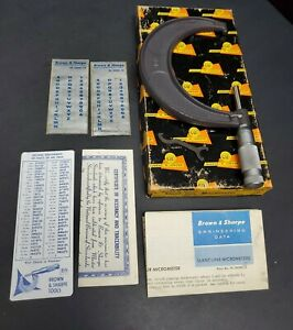 Brown Sharpe Usa 0001 3 To 4 Outside Micrometer Carbide Anvil Machinist