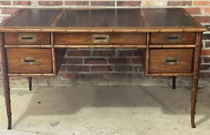 Vintage Faux Bamboo Wood Desk Drexel Leather Top Campaign Mid Century Free Ship