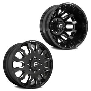 20x8 25 D673 Fuel Blitz Black Milled Pre 19 Dodge Dually Wheels 8x6 5 Set Of 6