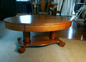Antique American Empire Coffee Library Table Quarter Sawn Tiger Oak W Drawer