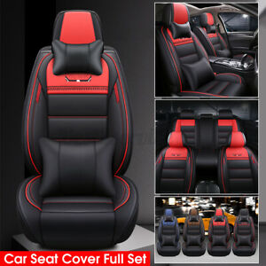 Us Universal 5 seats Car Full Set Leather Front rear Seat Cover