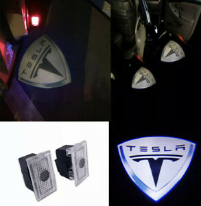 4pcs Car Door Led Shadow Courtesy Light Projector Fit For Tesla Model 3 S X