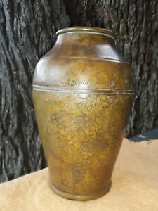 Antique Japanese Bronze Vase Meiji Period With Flowers Verdigris Signed