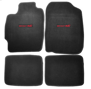 For 04 10 Scion Tc Coupe Black Floor Mats Carpet Front Rear Nylon W Red Emblem