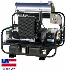 Pressure Washer Diesel Hot Water Skid Mounted 8 Gpm 3500 Psi 24 Hp 115v
