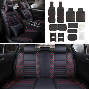 Us Deluxe Universal Pu Leather 5 Seats Car Front Rear Seat Cover Cushion Mat