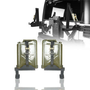 Steel Jerry Can Holder Gas Rack Mount W 2 Jerry Cans For Jeep Wrangler 07 18 Jk