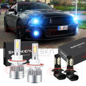 For Ford Mustang 2007 2012 4x 8000k Cob Led Headlight Hi lo Fog Light Bulbs