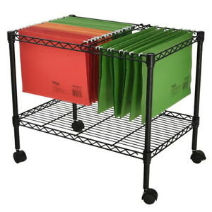 1 Tier Space saving Metal Rolling Mobile File Storage Organizer Cart With Wheels