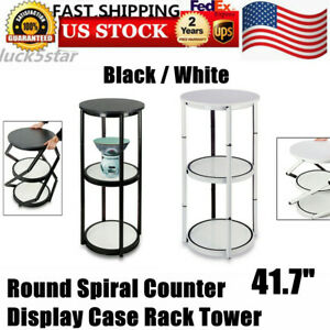 41 7 round Aluminum Spiral Counter Display Case shelves clear Panels White black