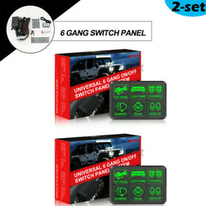 2 Set 6 gang Switch Panel Circuit Electronic Relay System For Led Work Light Bar